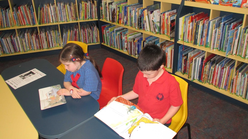 Two unidentified children reading books in the kids section of a public library.