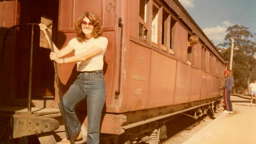 A young Sue Manning on a train