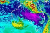 A satellite map showing the weather system off the south-west corner of Western Australia
