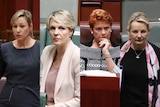 A composite image of four female politicians, two in the red senate chamber, two in the blue house of representatives