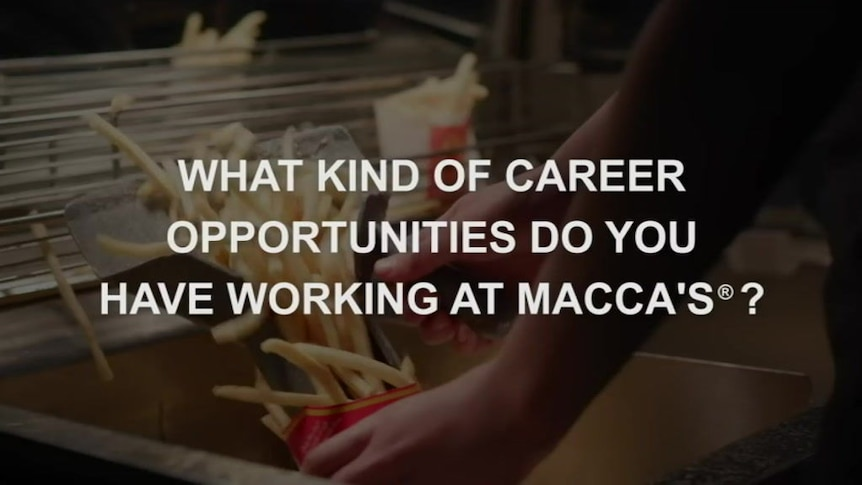 A McDonald's advertisement highlighting jobs available at the fast food outlet