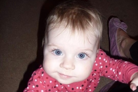 A close up photo of Queensland baby girl Evie Sawyer who has cystic fibrosis