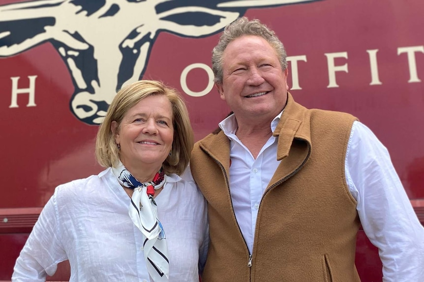 Nicola and Andrew Forrest at the RM Williams factory in Salisbury.