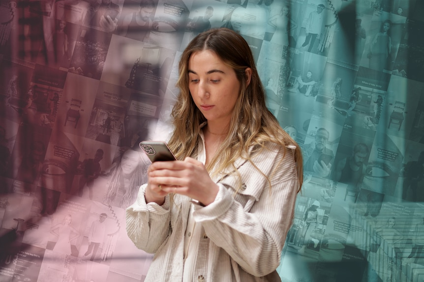 Lauren looks at her phone. Behind her is a pink and blue background showing dozens of TikTok videos.