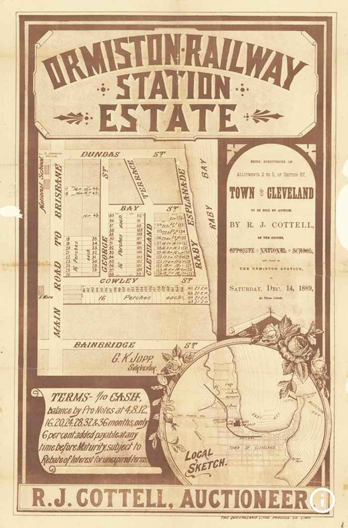 Historic auction advertisement for subdivided land at Ormiston railway station estate, east of Brisbane, in 1889.