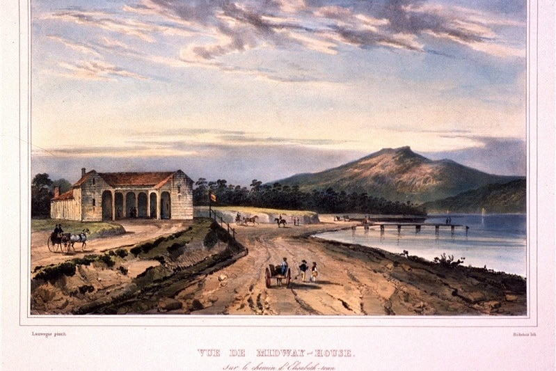 A coloured drawing from 1833 showing a building with a red roof on a hill