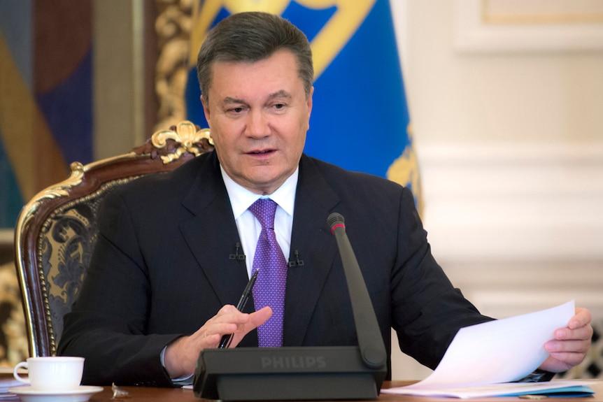 Ukraine's president Viktor Yanukovych speaks on live TV in December 2013