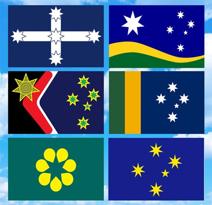 Six alternative designs for the Australian flag; all feature the Southern Cross except the Golden Wattle design