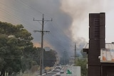 Smoke billows at the end of a road into the sky surrounded by houses and cars.