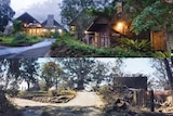 Before and after the bushfire that has destroyed the Binna Burra lodge