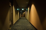 A long shot of an empty hotel corridor, with doors running along either side.