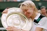 Jana Novotona hugging the Wimbledon trophy in 1998 following her win in the final.