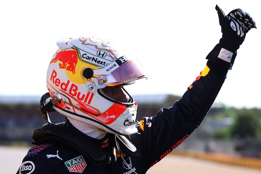 F1 driver giving thumbs up after winning sprint race