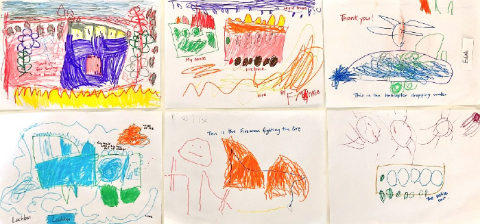 Six drawings by kindergarten children depicting their stories and images after a fire.