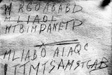 Police scan of the handwritten code found in the back of the book of poems linked to the Somerton Man.