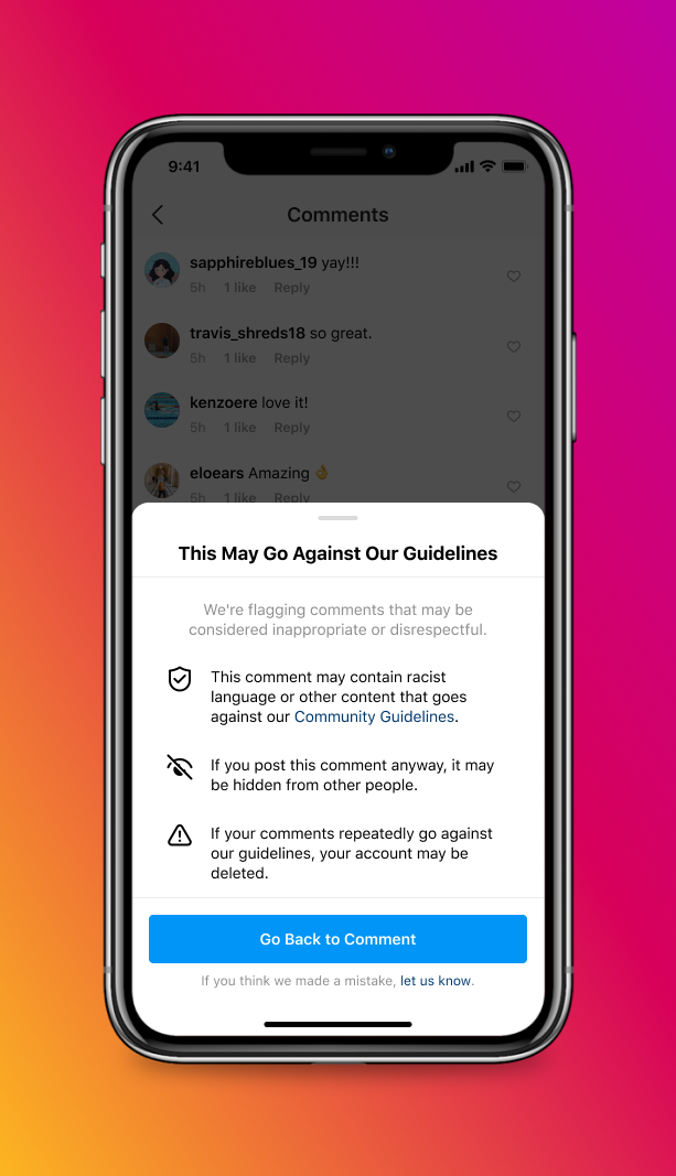 A screenshot of an Instagram warning to discourage harassment