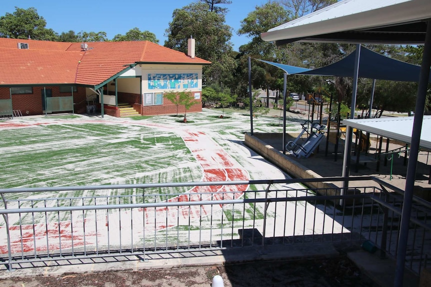 An empty playground at a school.