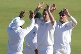 SA bowler Kyle Abbott celebrates wicket