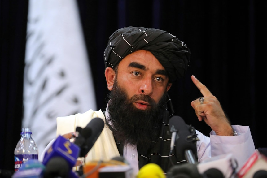 Taliban spokesperson Zabihullah Mujahid gives his first press conference since the takeover of Kabul