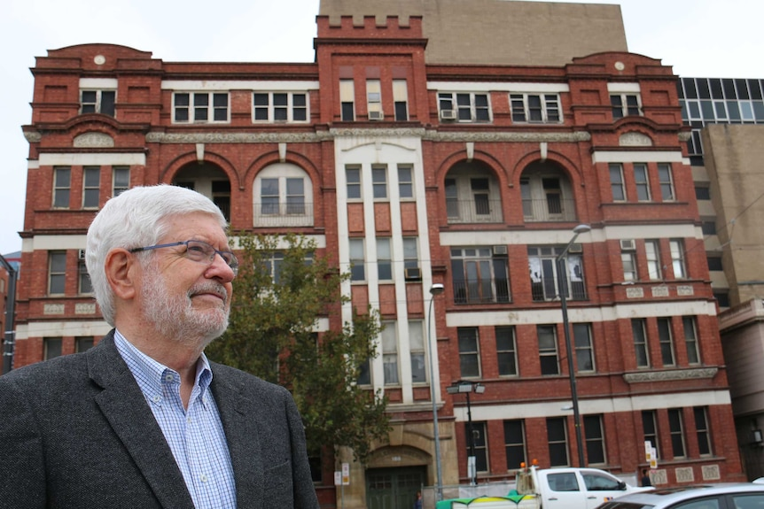 Historian Keith Conlon stands in front of the Gawler Chambers