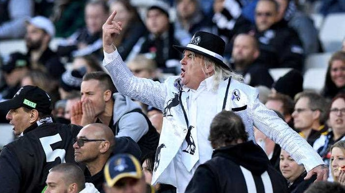 Collingwood AFL fan Joffa Corfe and crew.