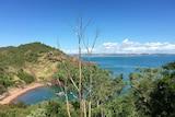 Green hills and the blue sea on the Kimberley's Cockatoo Island.