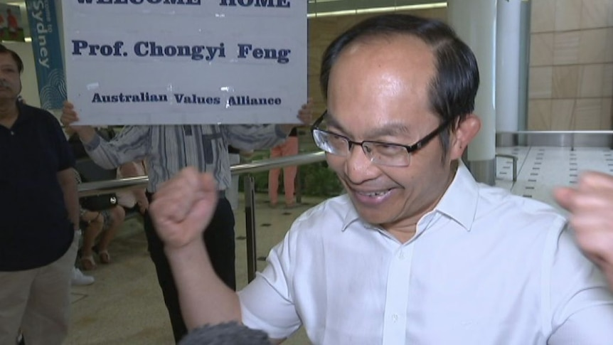 Professor Chongyi Feng has arrived in Sydney, says he will return to China