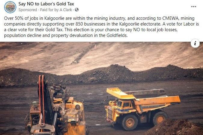 A Facebook advertisement showing mining vehicles and an anti-Labor message.