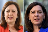 Headshots of two women wearing red and blue speaking.