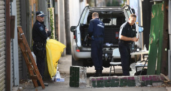 Police at a crime scene in inner-city Sydney.