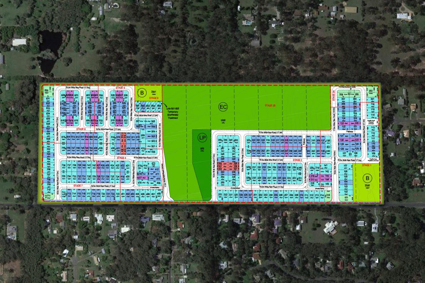 Aerial diagram of a proposed subdivision area on Hunt Road.