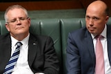 Scott Morrison and Peter Dutton during Question Time.
