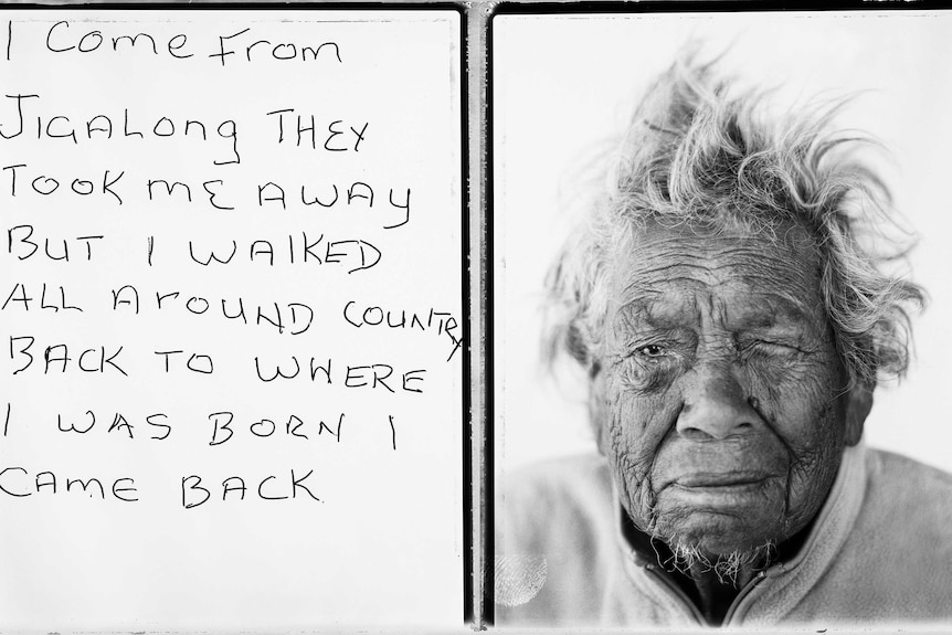 Photo of Daisy next to 'I come from Jigalong they took me away but I walked all around country back to where I was born.'