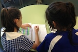 Two students work on a spelling activity