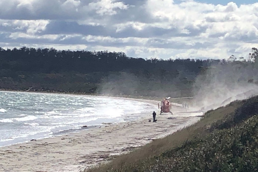 A helicopter lands on a beach.
