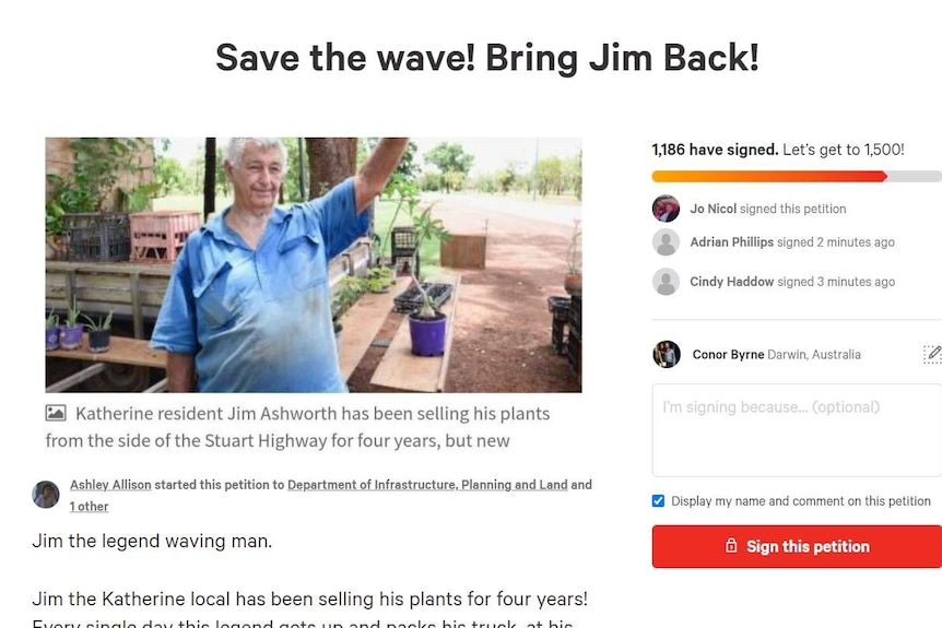A screenshot of a change.org petition showing 1,150 signatures and a photo of a man waving.