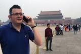 Victorian Premier Daniel Andrews at Tiananmen Square in China.
