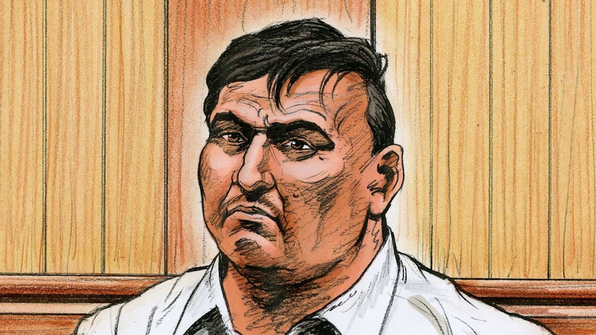 A sketch of a man in a white shirt sitting on a wooden bench in a courtroom.