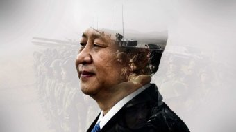 Composite image shows Xi with military figures in the back.