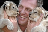 A photo of Tim Husband smiling while holding two lion cubs.