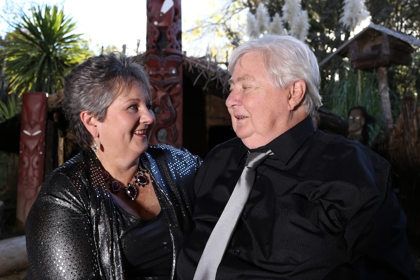 Sandra Yates and Lee Bransden at their wedding in New Zealand.