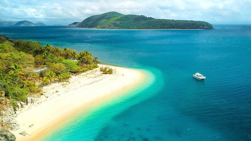 A bird's eye view of Orpheus Island overlooking white sandy beaches and crystal blue water.