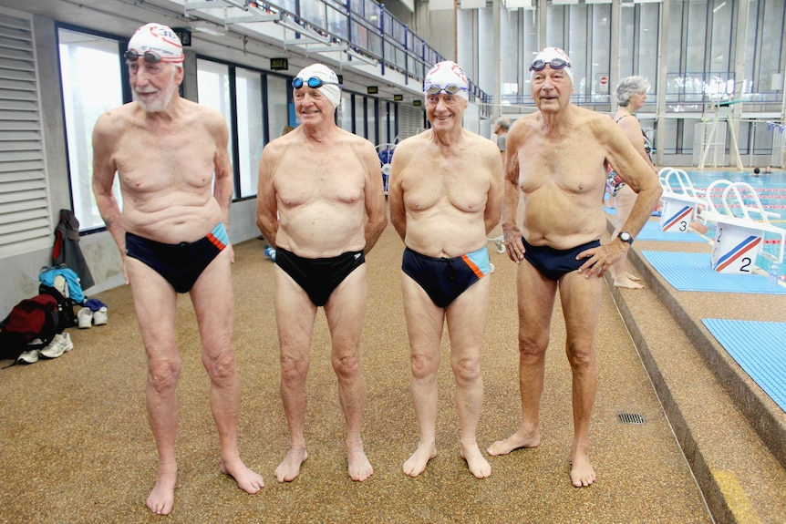 Swimmers attempting to break a national record for the Masters Swimming organisation.