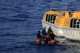 The Costa Concordia taken on January 14, 2012, after the cruise ship ran aground and keeled over off the Isola del Giglio.