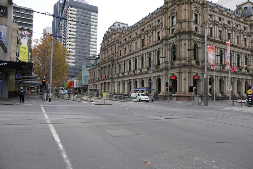 A quiet intersection in Melbourne CBD.