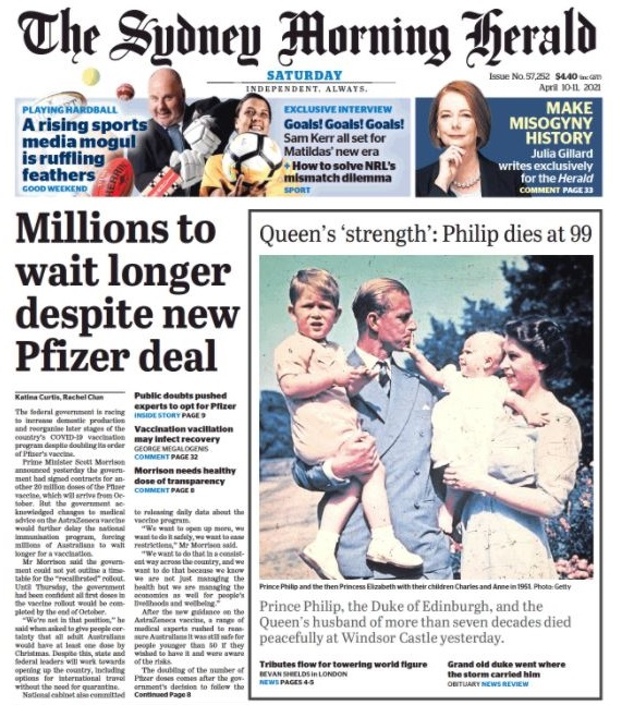 The front page of the Sydney Morning Herald newspaper the day after the death of Prince Philip.