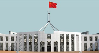 A doctored image showing the flag of the People's Republic of China flying on top of the Australian Parliament in Canberra.