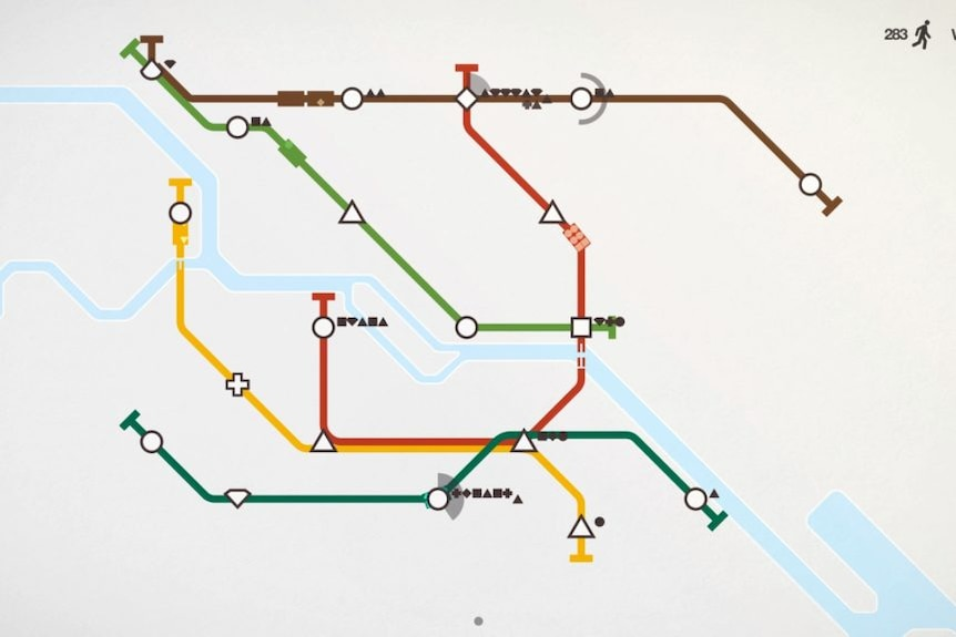 Screenshot of the game Mini Metro featuring a map of a subway system