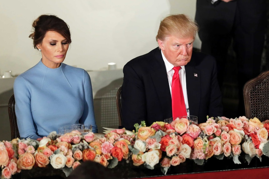 US President Donald Trump and first lady Melania at the inaugural luncheon