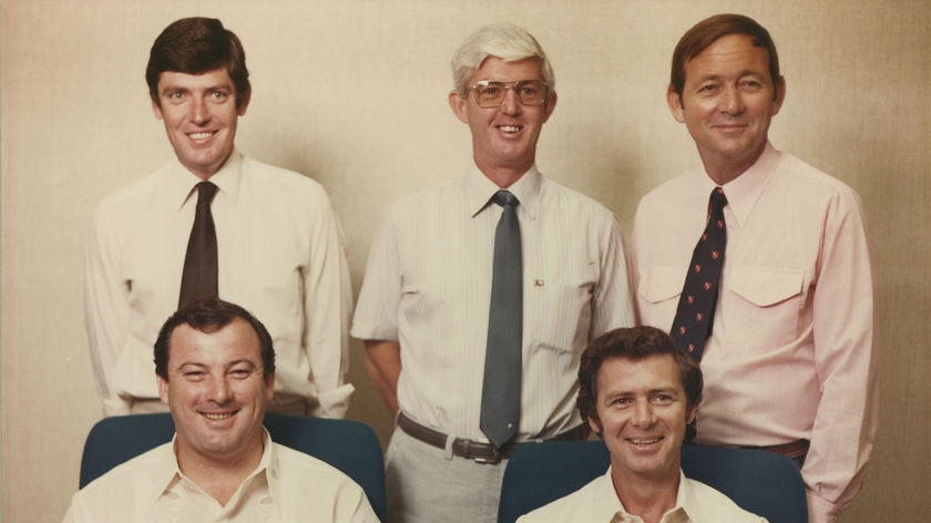 A 1978 photo showing Ian Tuxworth (centre) among the NT Parliament's first ministry of the Everingham government.